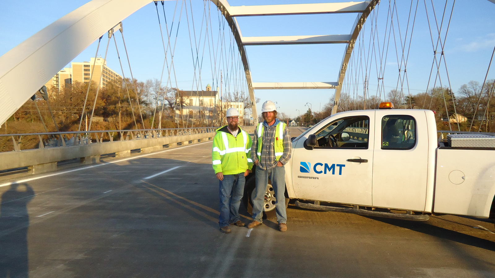 Morgan Street Bridge with CMT Truck and Employees