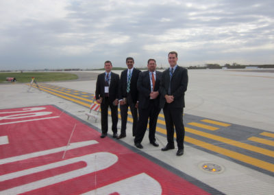 OHare Rwy 10R-28L opening with CMT engineers standing on runway