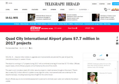 """Telegraph Herald"" article, ""Quad City International Airport plans $7.7 million in 2017 projects"""
