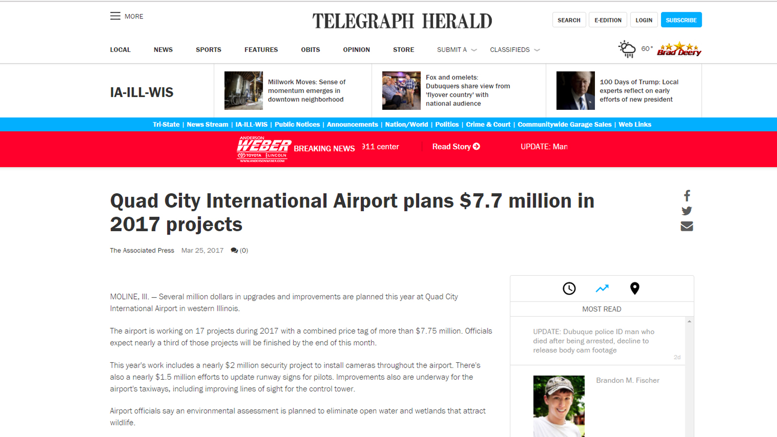 Telegraph Web Page Story - Quad City International Airport plans $7.7 million in 2017 projects