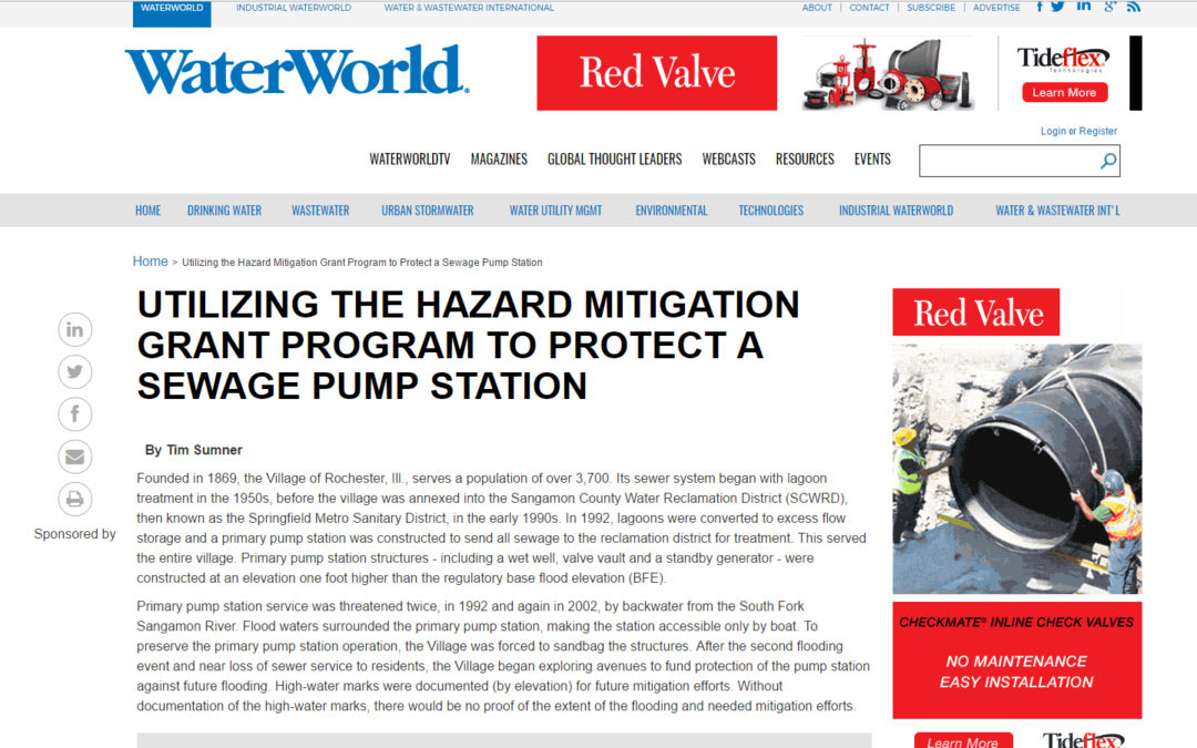 "From ""WaterWorld.com,"" ""Utilizing the Hazard Mitigation Grant Program to Protect a Sewage Pump Station"""