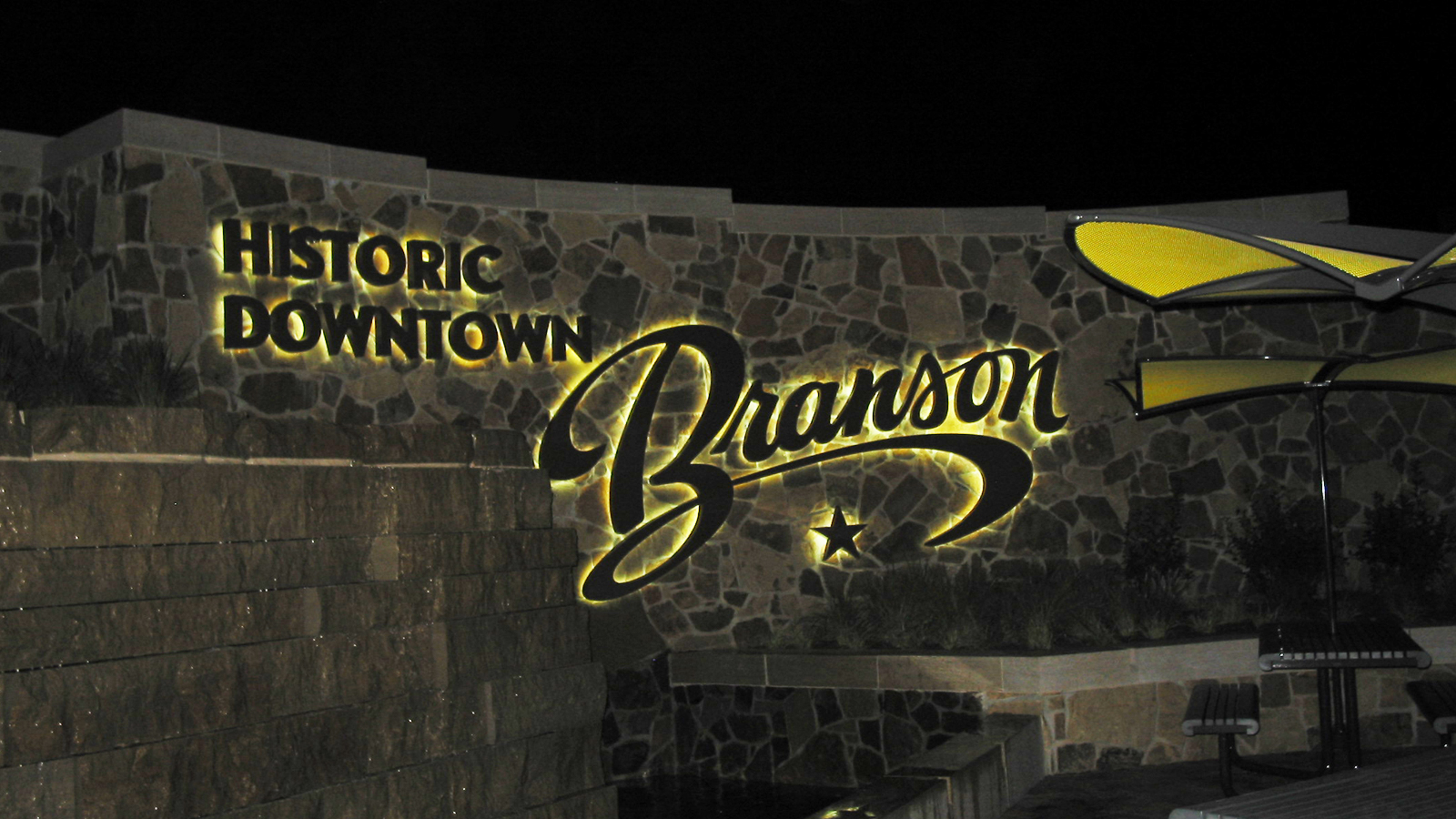 Branson, MO Liberty Plaza Ribbon Cutting Sign at Night