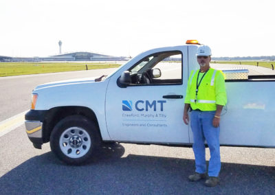 Indianapolis International Airport Taxiway H with CMT Staff and Truck with Terminal