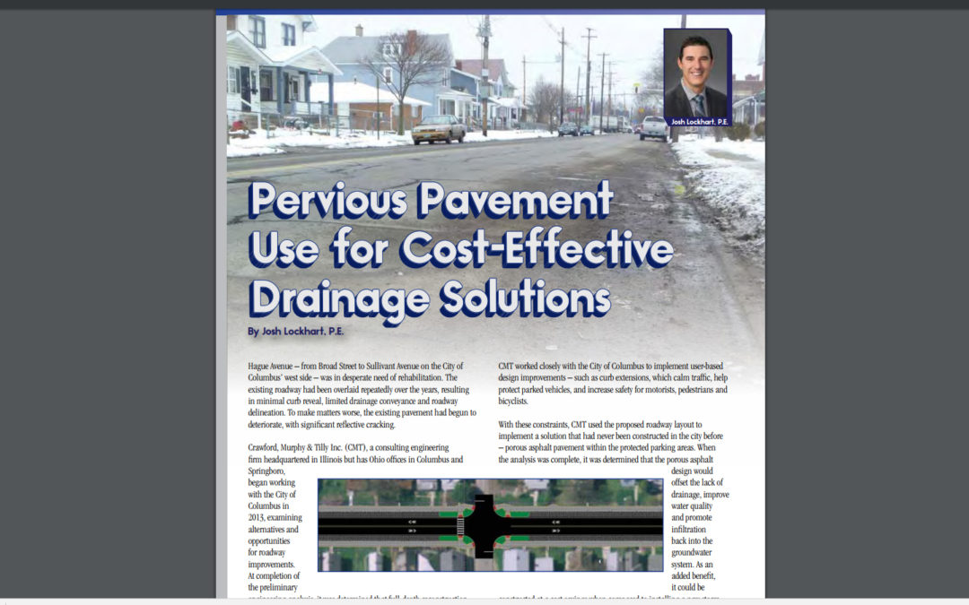"""Ohio Asphalt"" magazine article, ""Pervious Pavement Use for Cost-Effective Drainage Solutions"""