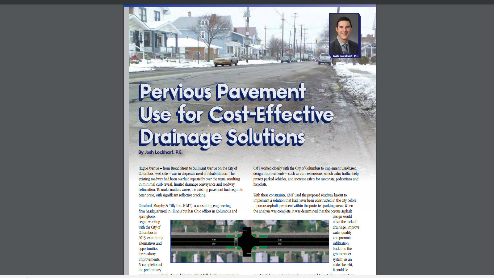 """Ohio Asphalt"" magazine article, ""Pervious Pavement Use for Cost-Effective Drainage Solutions"" by Josh Lockhart"