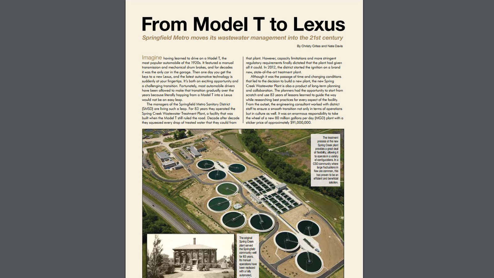 """From Model T to Lexus: Springfield Metro Moves its Wastewater Management into the 21st Century"" by Christina Crites and Nate Davis"