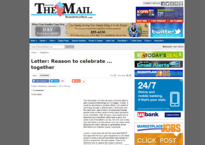 """The Marshfield Mail"" article, ""Letter: Reason to celebrate … together"" by the Mayor"