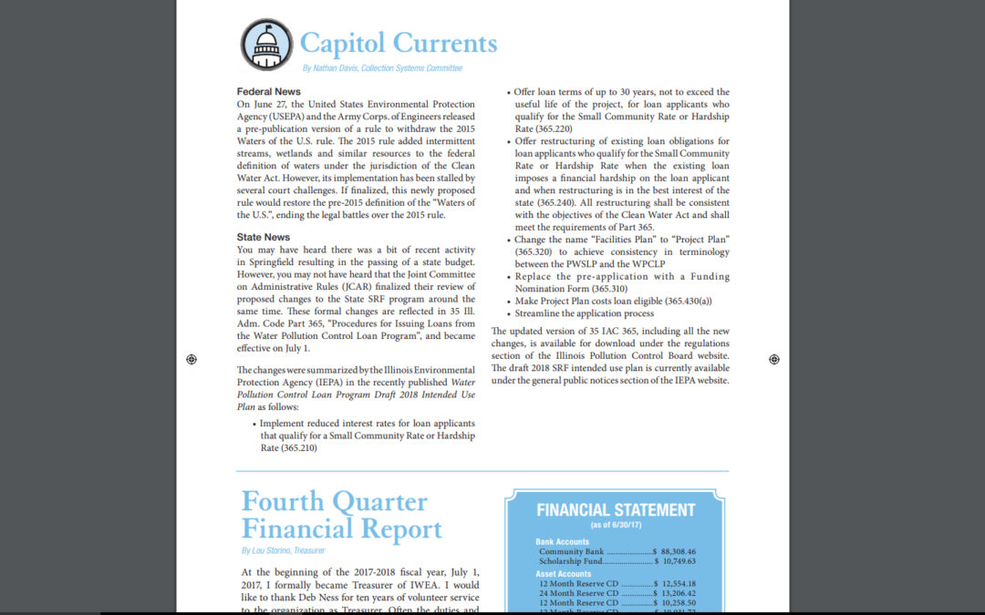 """Illinois Water Environment Association Clarifier"" article, ""Capitol Currents"" authored by CMT's own, Nate Davis; FALL 2017"