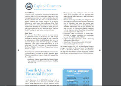 """Illinois Water Environment Association Clarifier"" article, ""Capitol Currents"" authored by CMT's own, Nate Davis; WINTER 2017"