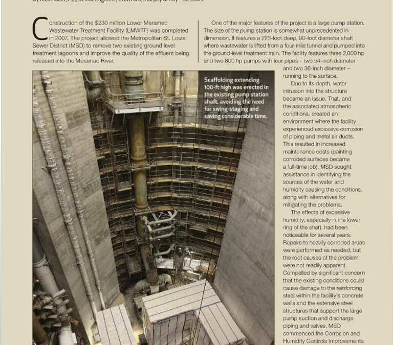 """""""Lower Meramec Wastewater Treatment Facility,"""" article by CMT's Rick Huber in MWEA's """"Current"""" Newsletter"""