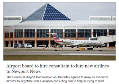 """Daily Press"" article, ""Airport board to hire consultant to lure new airlines to Newport News"""