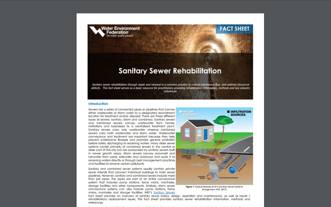 """Water Environment Federation"" article, ""Sanitary Sewer Rehabilitation"" authored in-part by CMT's Tim Sumner, PE, CFM, CSM"