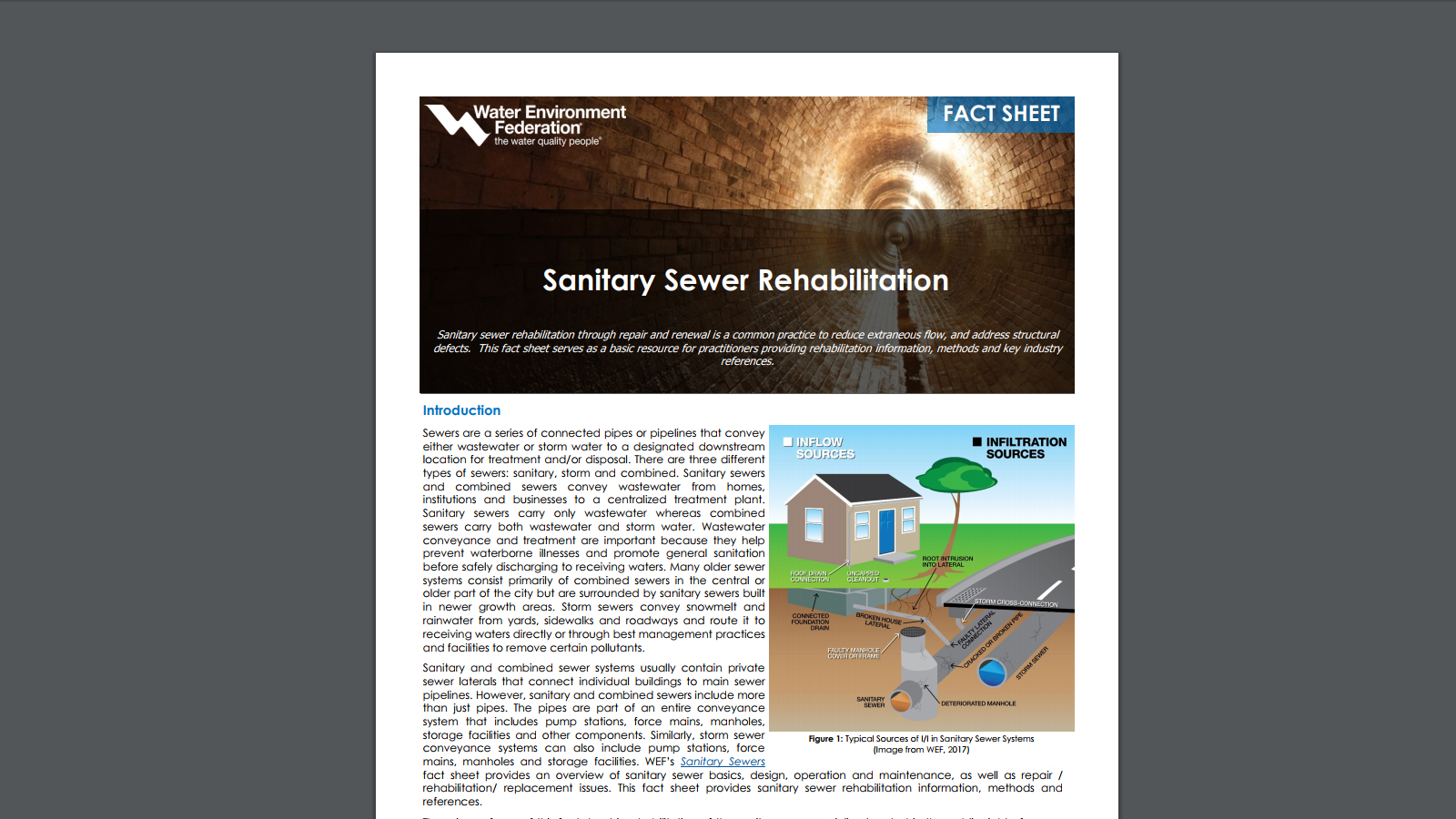 WEF Sanitary Sewer Rehabilitation Fact Sheet