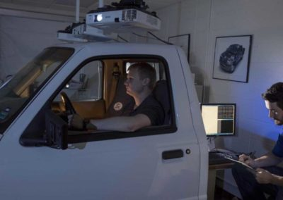 """""""Students use a driving simulator to test roadway design before construction"""" article on News and Events; Missouri S&T Website (news.mst.edu)"""